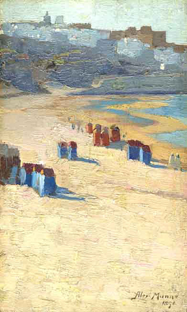 ALEXANDER MANN  Beach Huts, Tangiers   Oil on board 9½  x 6 inches (24.1 x 15.2 cm.)  SOLD