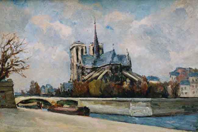 PAUL LUCIEN MAZE    Notre Dame, Paris   Oil on canvas 15 x 22 inches (38.2 x 55.7 cm.)  SOLD