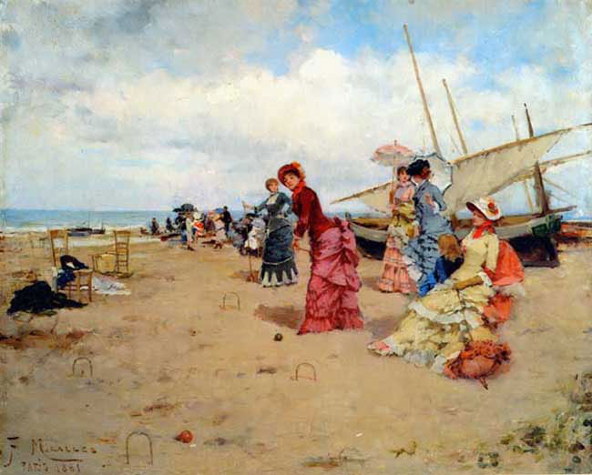 FRANCISCO MIRALLES  Croquet on the Beach   Oil on panel 15 x 18 inches (38 x 46 cm.)  SOLD