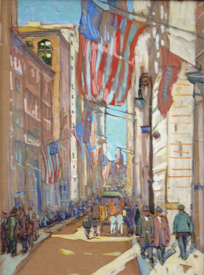JANE PETERSON  Wall Street   Watercolor and gouache on paper 24 x 18 inches (61 x 45.5 cm.)  SOLD
