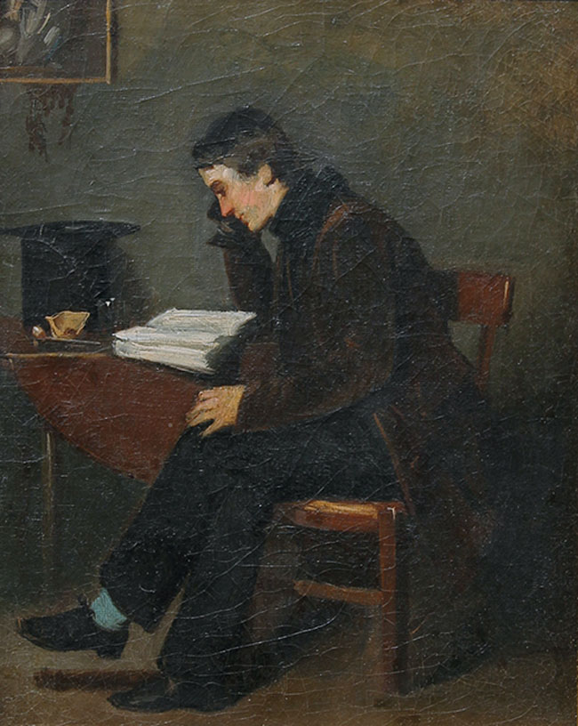 ISODORE ALEXANDRE AUGUSTIN PILS    A Young Man Reading   Oil on canvas 10¾ x 8½ inches (27.4 x 21.6 cm.)  SOLD