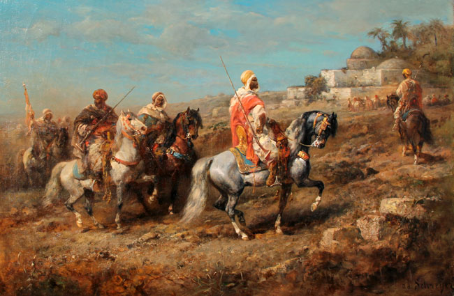 ADOLPHE SCHREYER  Return from a Foray   Oil on canvas 21¾ x 33 inches (55.2 x 84 cm.)  SOLD