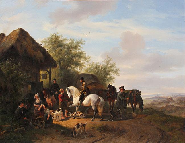 WOUTERUS VERSCHUUR    A Halt at the Inn   Oil on canvas 30¼ x 39¼ inches (76.8 x 99.7 cm.)  SOLD