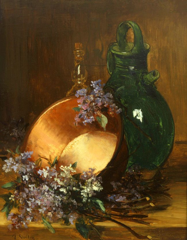 ANTOINE VOLLON  Still Life with Lilacs and a Copper Pot   Oil on panel 16½ x 12½ inches (42 x 31.7 cm.)  SOLD