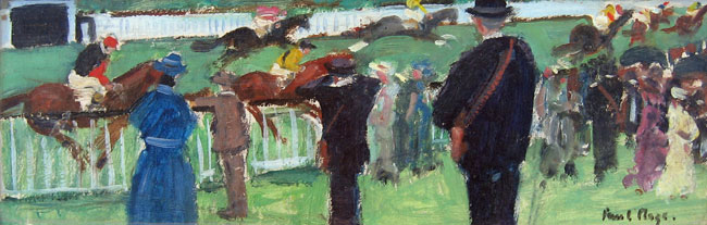 PAUL LUCIEN MAZE    At the Races   Oil on board 6½ x 18½ inches (16.5 x 47 cm.)  SOLD