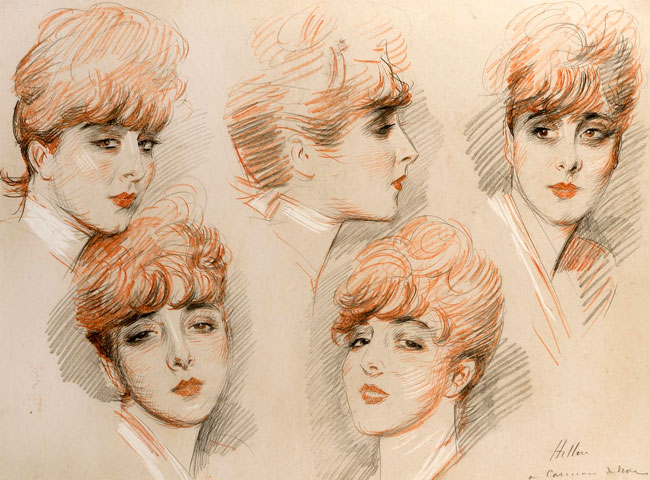 PAUL CÉSAR HELLEU    Five Studies of Suzanne   Colored chalk on paper 23½ x 29¾ inches (59.7 x 75.6 cm) $45,000 Click here for more information
