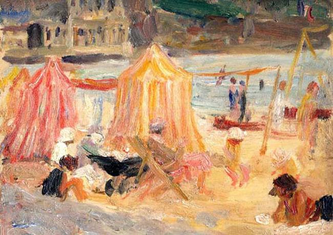 JEAN DE LA HOUGUE  On the Riviera   Oil on panel 7½ x 9½  SOLD