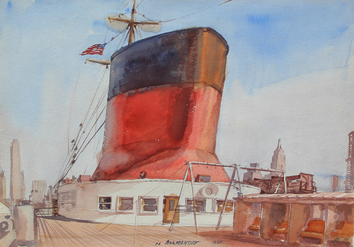 REGINALD MARSH    The SS Normandie in New York Harbor   Watercolor on paper 15 x 21 inches (38.1 x 53.34 cm)  SOLD