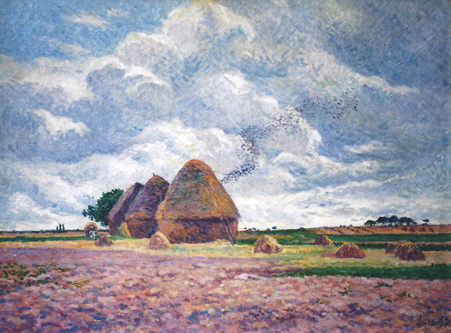 MAXIMILIEN LUCE    Eragny, les Meules  (1897)  Oil on canvas 21¼ x 28½ inches (54 x 72 cm)  SOLD