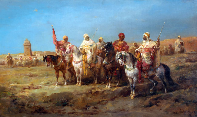 ADOLPHE SCHREYER    The Meeting   Oil on canvas 19½ x 33 inches (49.5 x 83.8 cm)  SOLD