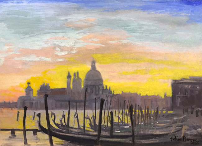 JULIAN BARROW    Sunset over Venice   Oil on canvas 10 x 13¾ inches (25.4 x 35 cm) $6,500 Click here for more information