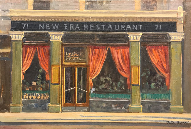JULIAN BARROW    New Era Restaurant   Oil on canvas 8 x 12 inches (20.2 x 30.5 cm)  SOLD