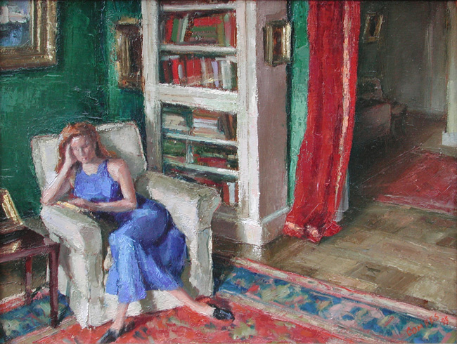 RICHARD COMBES    Catharine Reading  (1995)  Oil on canvas 18 x 24 inches (45.7 x 61 cm)  SOLD