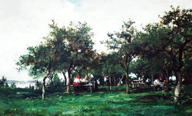 CHARLES FRANÇOIS DAUBIGNY    Un Verger à La Bonneville    (1873)  Oil on canvas 14 x 23 inches (35.6 x 58.4 cm.)  SOLD