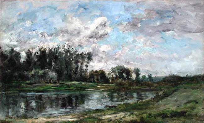 CHARLES FRANÇOIS DAUBIGNY    Bord de Rivière   Oil on panel 13½ x 22 inches (34.3 x 55.9 cm)  SOLD