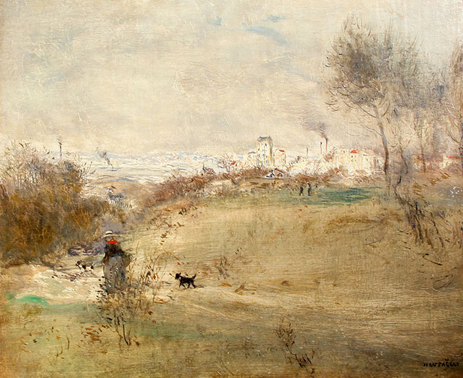 JEAN-FRANÇOIS RAFFAËLLI    The Afternoon Walk   Oil on canvas 15 x 18 inches  SOLD