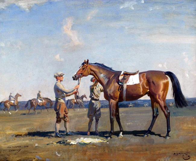 SIR ALFRED MUNNINGS    Mon Talisman, after Breezing at Chantilly  (1928)  Oil on canvas 19 x 23½ inches (48.3 x 59.7 cm)  SOLD