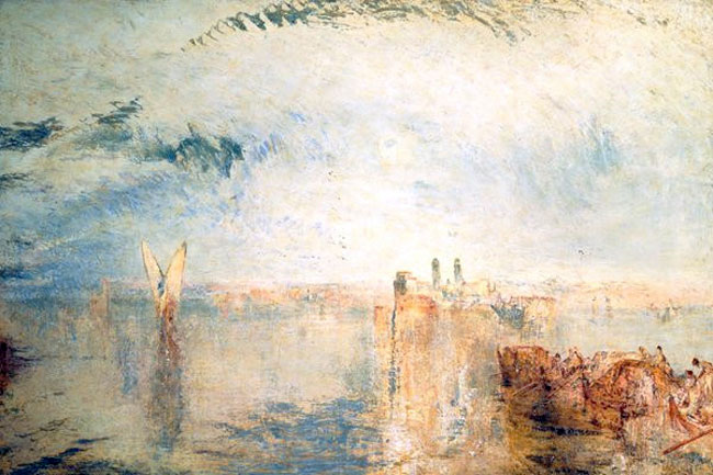JOSEPH MALLORD WILLIAM TURNER    Venice, Morning - Returning from the Ball, St. Martha  (1845)  Oil on canvas 24 x 36 inches (61 x 91.4 cm)  SOLD