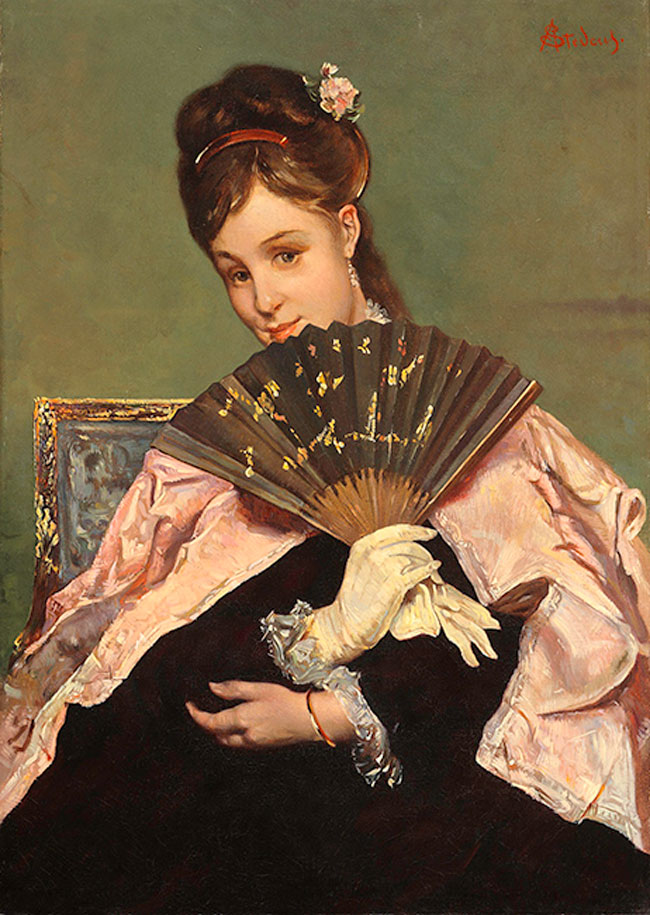 ALFRED STEVENS    A Lady with a Fan   Oil on canvas 15¾ x 11¼ inches (40 x 28.5 cm)  SOLD
