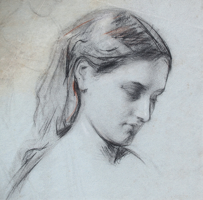 GEORGE WILLIAM JOY    Study of a Girl   Black and red chalk heightened with white on blue paper 14 x 14 inches (35.6 x 35.6 cm) $4,500 Click here for more information