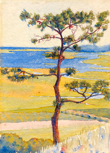 THOMAS BUFORD METEYARD    Scituate, North River: The Lone Pine (Fall)   Watercolor on paper 7 x 5 inches (17.8 x 12.7 cm) $4,500 Click here for more information