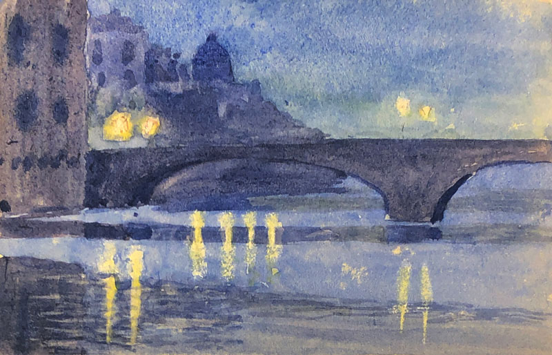 THOMAS BUFORD METEYARD    River at Night   Watercolor on paper 3½ x 5¼ inches (9 x 13.3 cm) $4,000 Click here for more information