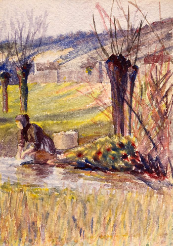 THOMAS BUFORD METEYARD    The Washerwoman, Giverny   Watercolor on paper 7 x 5 inches (17.7 x 12.6 cm) $4,500 Click here for more information