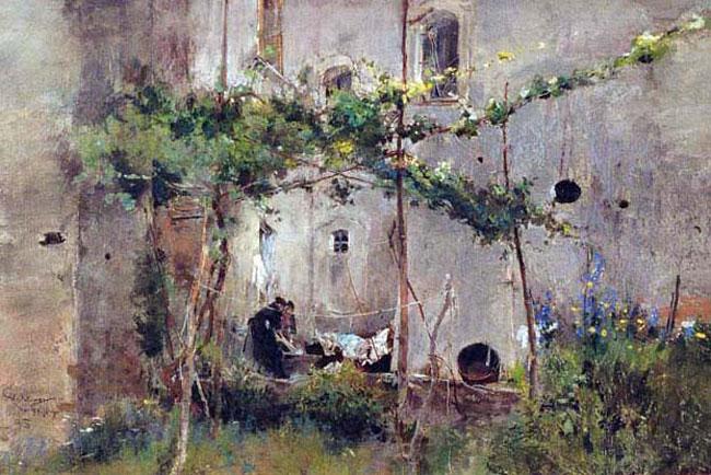 GIUSEPPE CASCIARO    La Lavandaie  (1895)  Pastel on paper 14 x 19 inches (35.4 x 48.2 cm)  SOLD