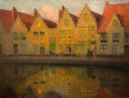 HENRI LE SIDANER    Soleil couchant sur les maisons, Bruges   Oil on canvas 24½ x 32 inches (62.3 x 81.2 cm)  SOLD