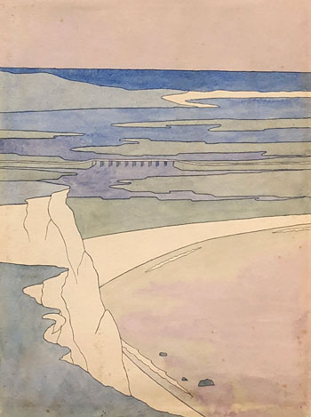 THOMAS BUFORD METEYARD    Scituate Bay: The White Cliff  (c. 1894-1900)  Watercolor on paper 12 x 9 inches (30.5 x 22.8 cm)  SOLD