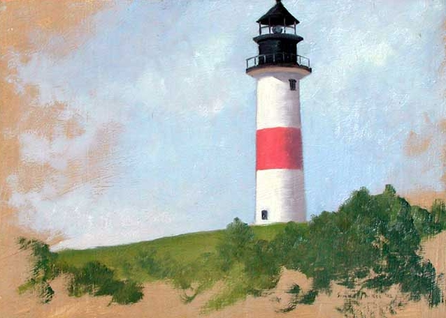 SIMON PARKES  Sankaty Lighthouse, Nantucket   Oil on paper laid down on canvas 10 x 14 inches (25 x 35.5 cm.)  SOLD