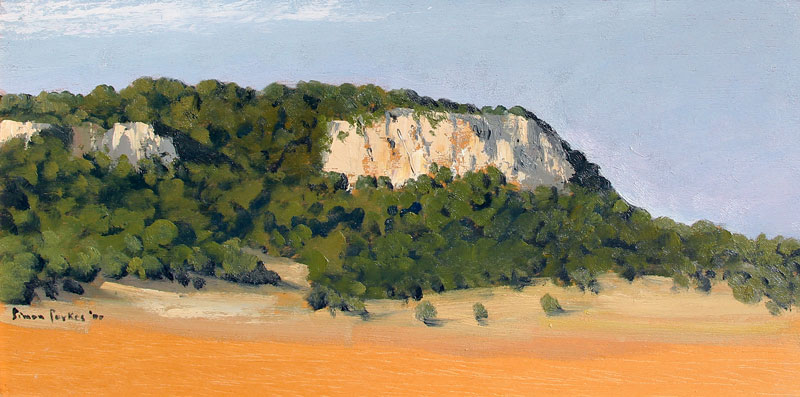 SIMON PARKES    Large Cliff Sketch, Mallorca   Oil on panel 6¾ x 13¾ inches (17.2 x 35 cm) $3,800 Click here for more information