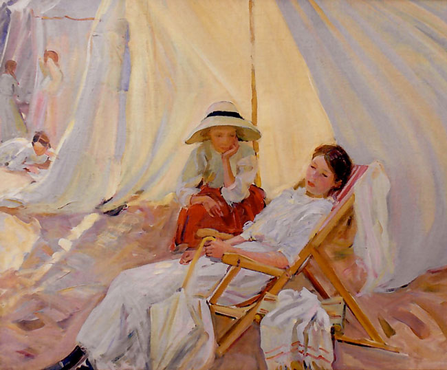 DOROTHEA SHARP    Marcella Smith at the Beach, Languedoc, South of France    (c. 1912)  Oil on canvas 30½ x 38 inches (77.5 x 96.5 cm)  SOLD