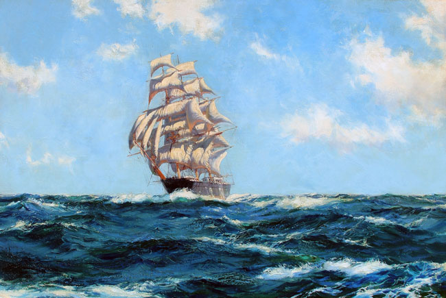 """MONTAGUE DAWSON    A Westerly Trade Wind – The Boston Clipper """"Southern Cross""""   Oil on canvas 20 x 30 inches (50.8 x 76.2 cm)  SOLD"""