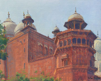 JULIAN BARROW    The Walls of the Taj Mahal   Oil on canvas 10 x 12 inches (25.5 x 30.5 cm)  SOLD
