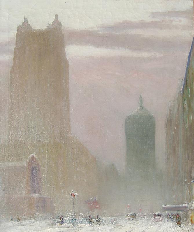 JOHANN BERTHELSEN    Park Avenue at the Waldorf Astoria  (1927)  Oil on canvas 30 x 25 inches (76.2 x 63.5 cm.)  SOLD