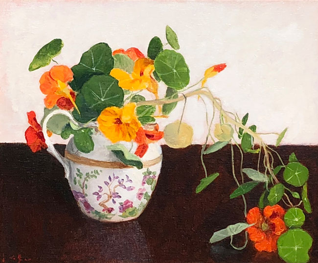 JOSEPH KEIFFER  Nasturtiums in a Cream Pot   Oil on canvas 12 x 10 inches (30.4 x 25.4 cm) $1,200 Click here for more information