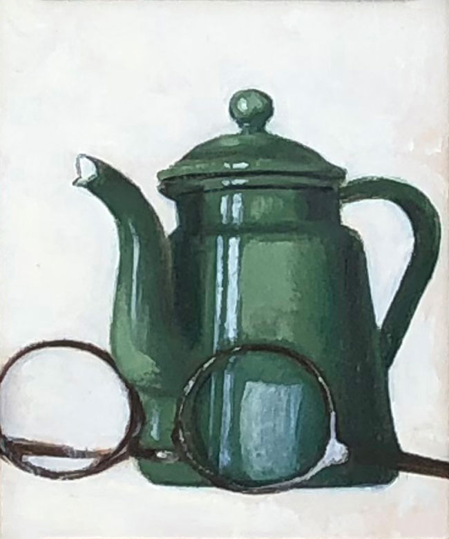 JOSEPH KEIFFER  Teapot and Glasses      Oil on board 6 x 5 inches (15.2 x 12.7 cm) $700 Click here for more information