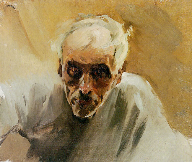 JOAQUÍN SOROLLA Y BASTIDA  Cabeza de un Viejo Pescador  (c.1897)  Oil on canvas 17 x 19¾ inches (43 x 50 cm)  SOLD