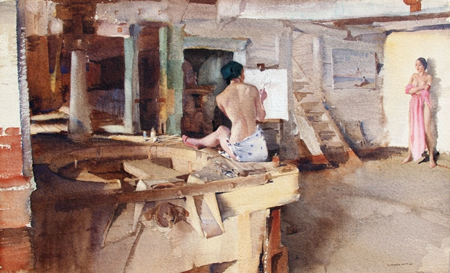 SIR WILLIAM RUSSELL FLINT  The Old Mill Studio   Watercolor on Paper 13½ x 22 inches (34.2 x 56 cm.)  SOLD