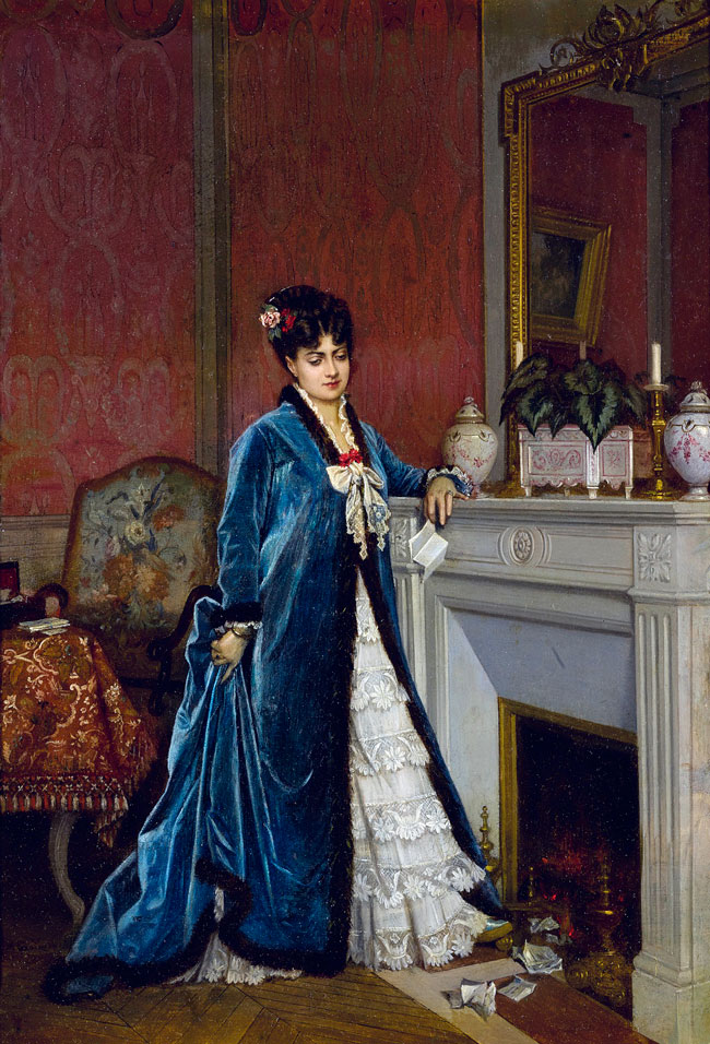 AUGUSTE TOULMOUCHE  News from Afar   Oil on canvas 18¼ x 12¾ inches (46.4 x 32.1 cm) $24,000 Click here for more information