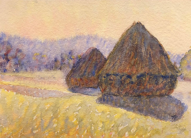 THOMAS BUFORD METEYARD  Haystacks in Shadow, near Giverny   Watercolor on paper 5 x 7 inches (12.7 x 17.8 cm)  SOLD