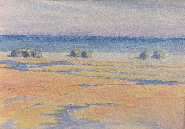 THOMAS BUFORD METEYARD    Fisher Huts, Summer, Scituate   Watercolor on paper 5 x 7 inches (12.7 x 17.8 cm)  $4,500 Click here for more information