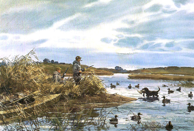 AIDEN LASSELL RIPLEY    Returning the Mallard  (1940)  Watercolor on paper 21 x 31 inches (53.2 x 78.8 cm)  SOLD