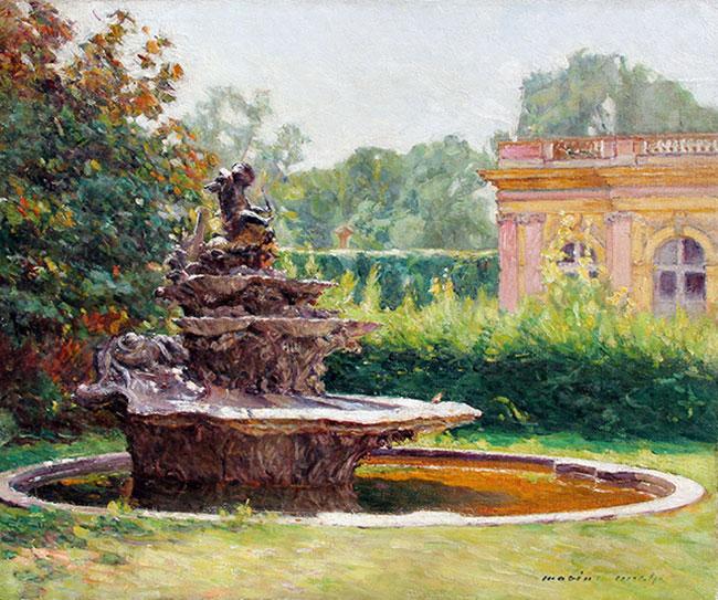 MARIUS MICHEL  The Garden Fountain   Oil on canvas 15 x 18 inches (38 x 45.7 cm)  SOLD
