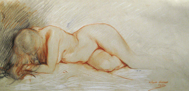 ALBERT STERNER  Recumbent Nude  (1900)  Colored chalk on paper 7½ x 15½ inches (19 x 39.3 cm)  SOLD