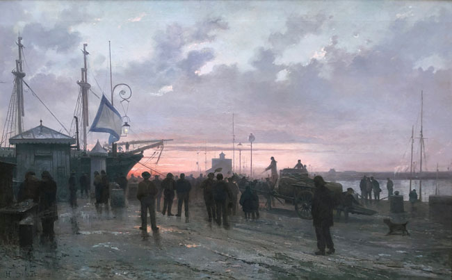 HENRI LOUIS SCOTT    Pont-tourné à Saint-François, Le Havre   Oil on canvas 39½ x 63 inches (100 x 160 cm)
