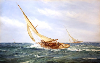 MONTAGUE DAWSON  A Close Race   Watercolor on paper 17 x 26¾ inches (43.2 x 68 cm)