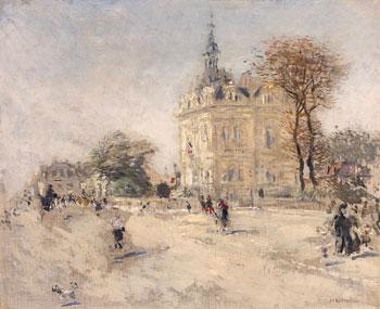JEAN-FRANÇOIS RAFFAËLLI  La Mairie d'Asnières-sur-Seine   Oil on canvas 15 x 18 inches (38 x 45.7 cm)