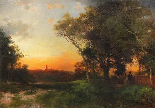 THOMAS MORAN  Landscape near Cuernavaca, Mexico   Oil on cradled panel 14 x 20 inches (35.6 x 50.8 cm)
